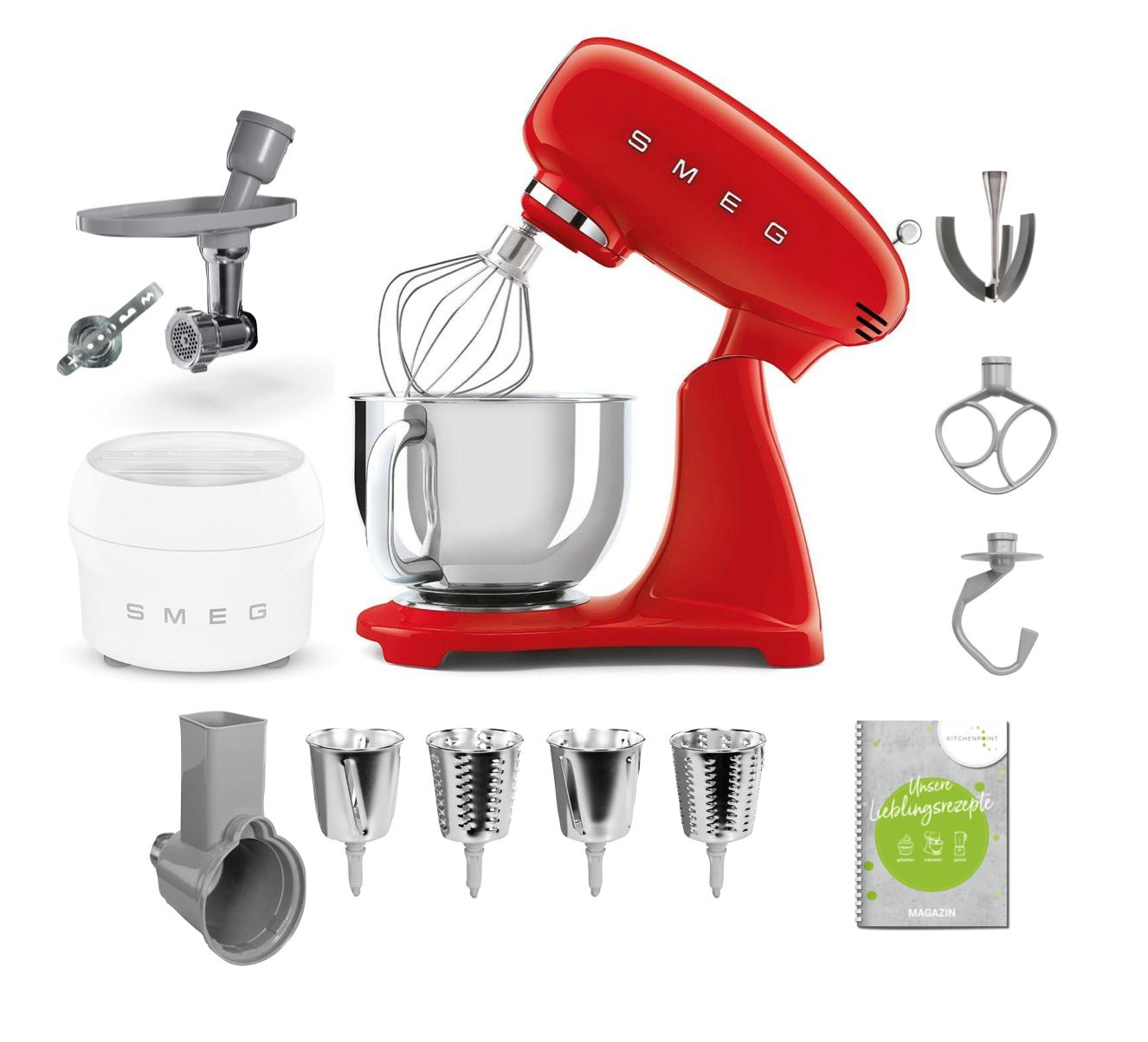 SMEG Küchenmaschine SMF03 Vollfarbe - Gourmet Set Rot