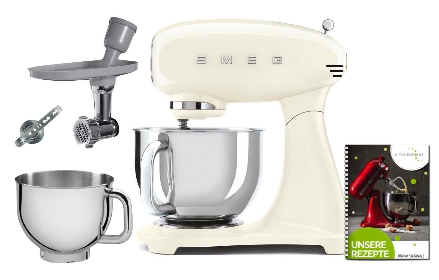 SMEG Küchenmaschine SMF03 Vollfarbe - Back Mega Set Creme