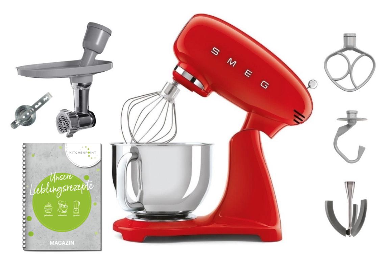 SMEG Küchenmaschine SMF03 Vollfarbe Rot - Back Set