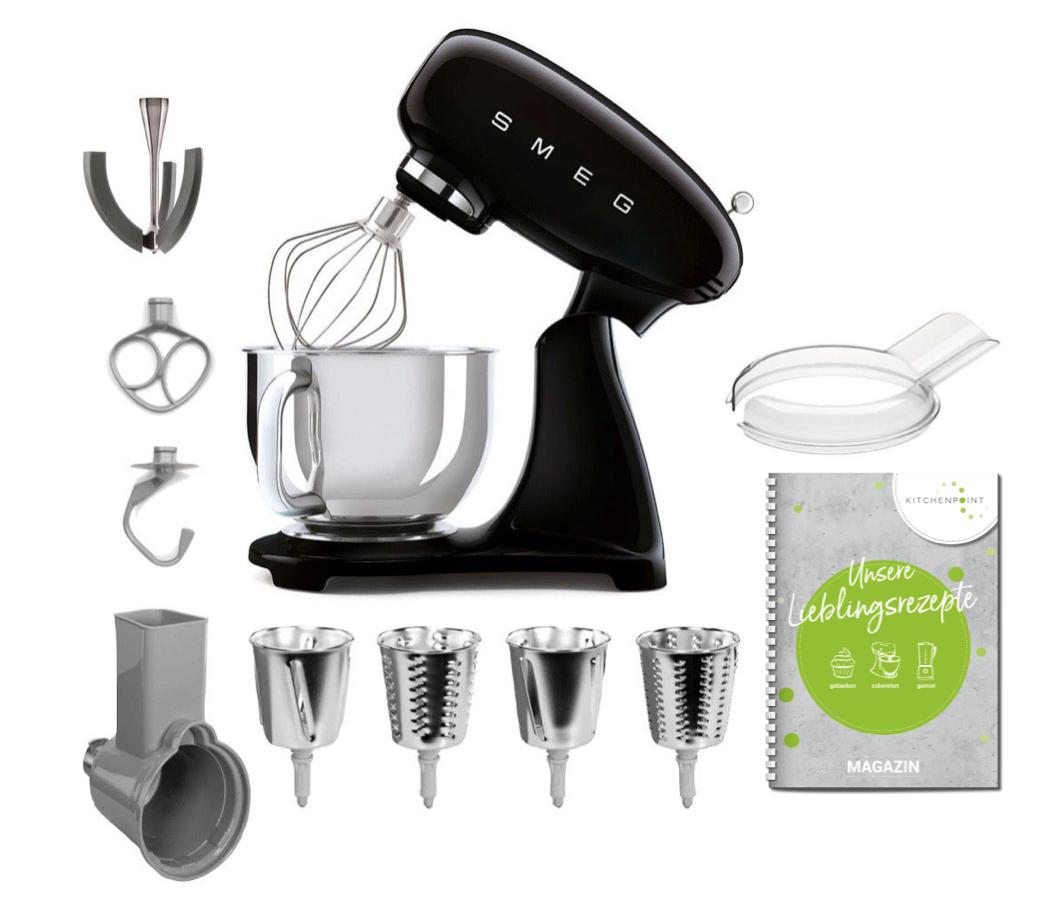 SMEG Küchenmaschine SMF03 Vollfarbe - Gemüse Set Schwarz