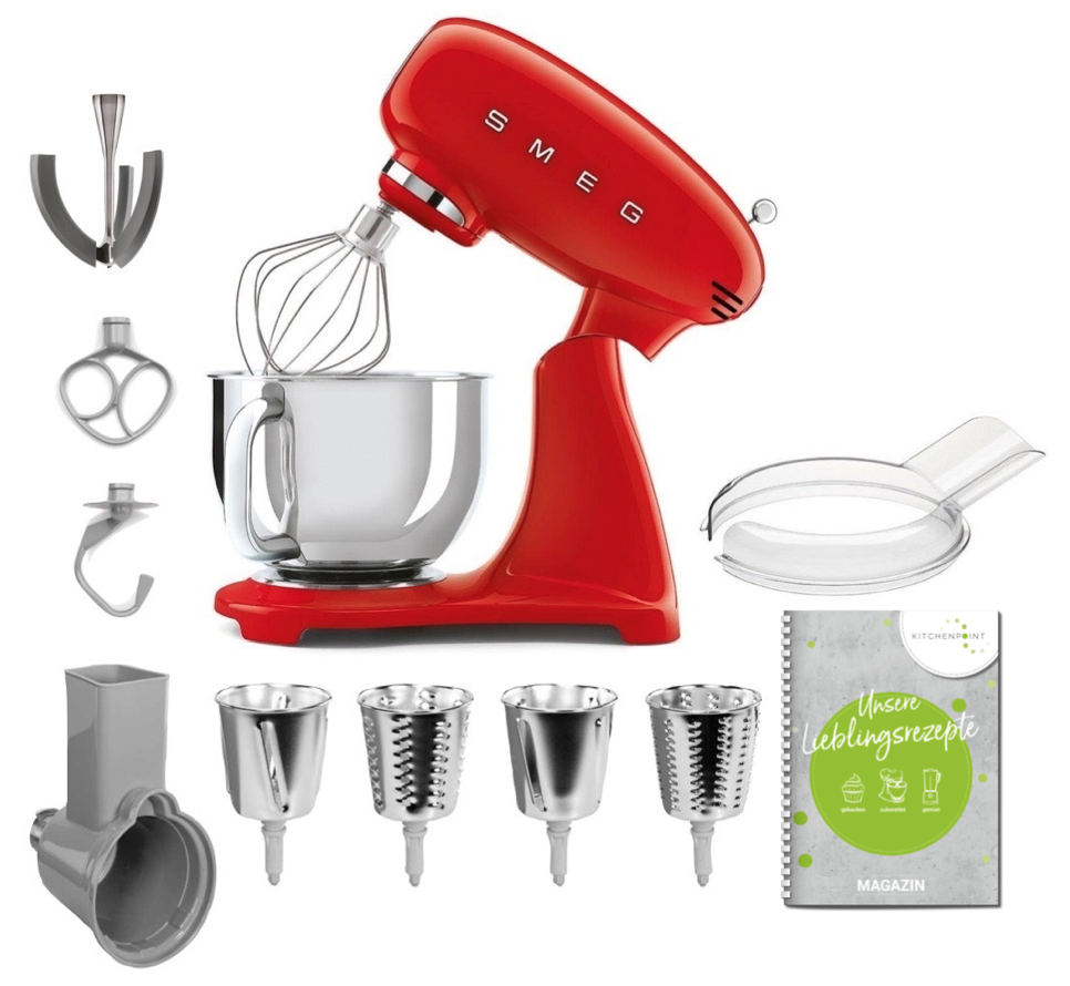 SMEG Küchenmaschine SMF03 Vollfarbe - Gemüse Set Rot