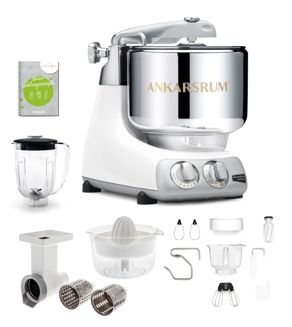 Ankarsrum Küchenmaschine Glossy White - Go Green Set