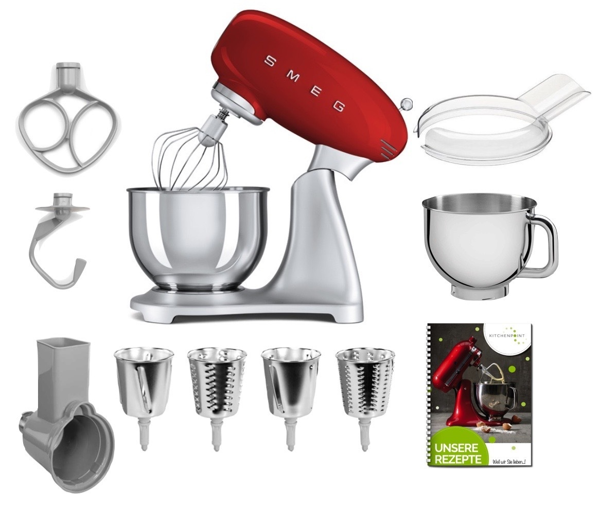 SMEG Küchenmaschine SMF02 - Gemüse Mega Set Rot