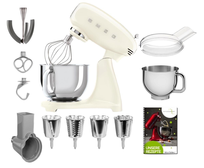 SMEG Küchenmaschine SMF03 Vollfarbe - Gemüse Mega Set Creme