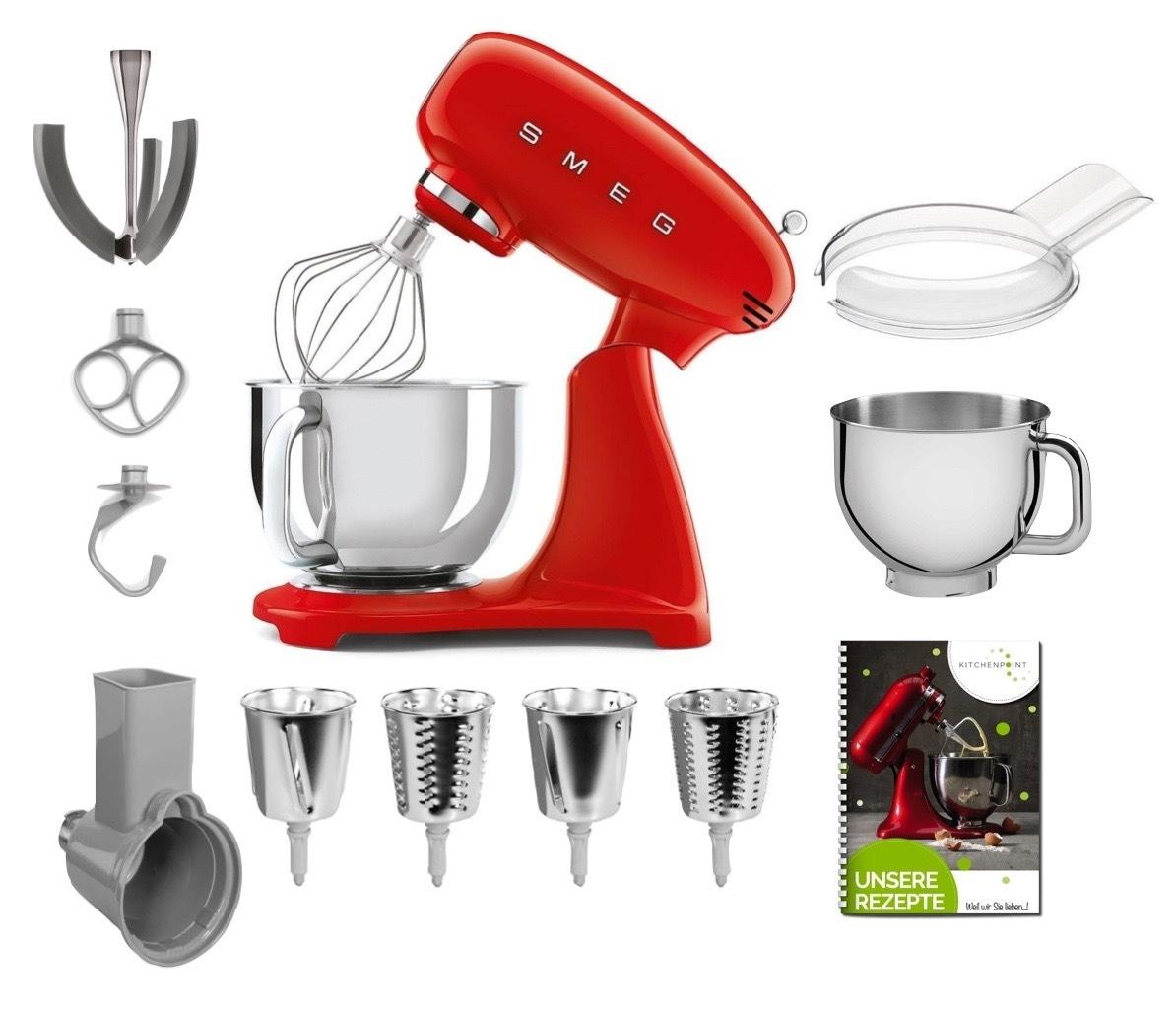 SMEG Küchenmaschine SMF03 Vollfarbe - Gemüse Mega Set Rot
