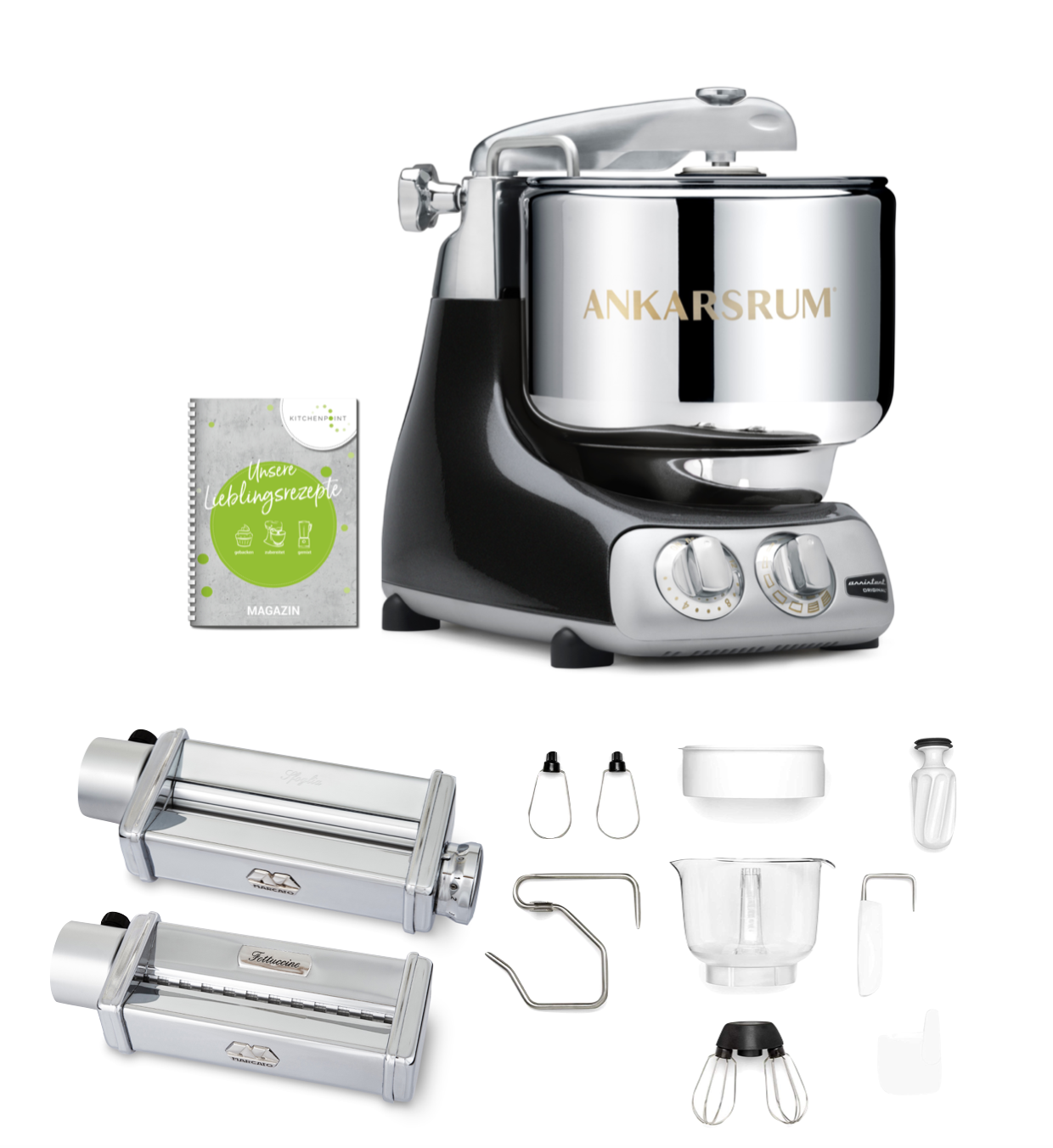Ankarsrum Küchenmaschine Assistent Black Chrome - Pasta Set