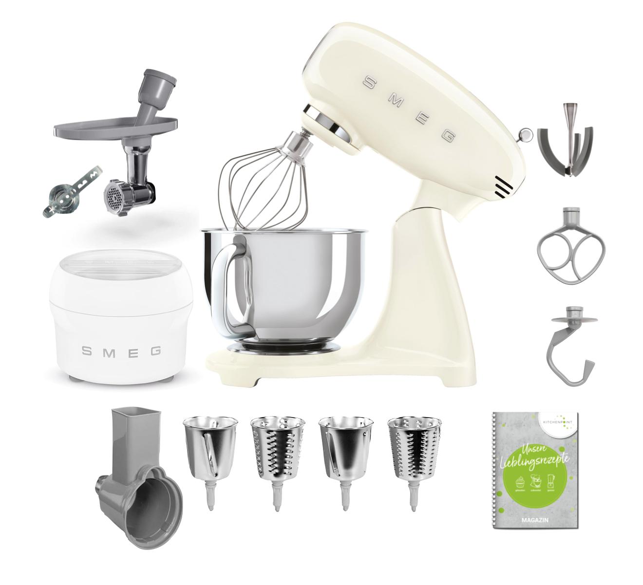 SMEG Küchenmaschine SMF03 Vollfarbe - Gourmet Set Creme