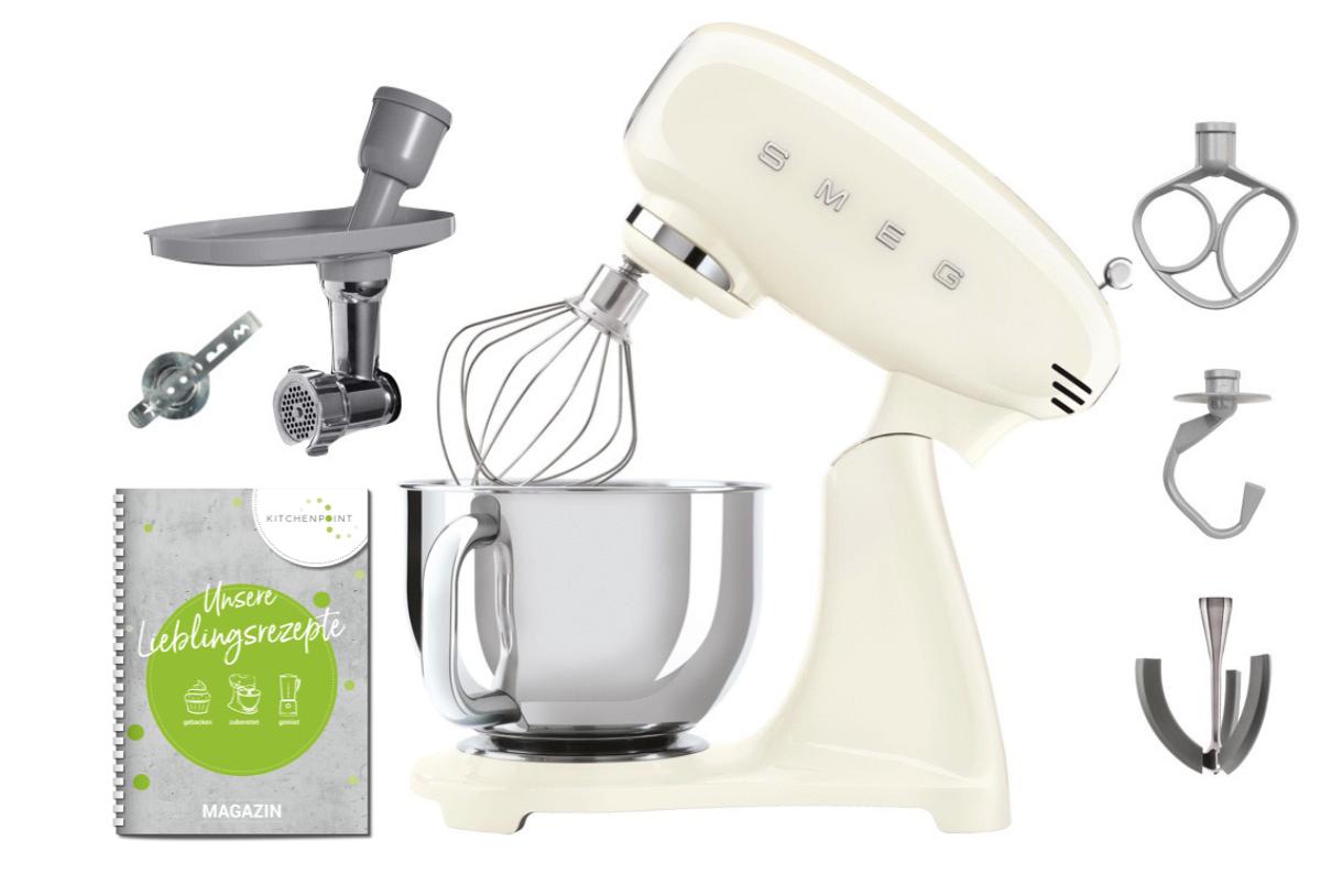 SMEG Küchenmaschine SMF03 Vollfarbe Creme - Back Set