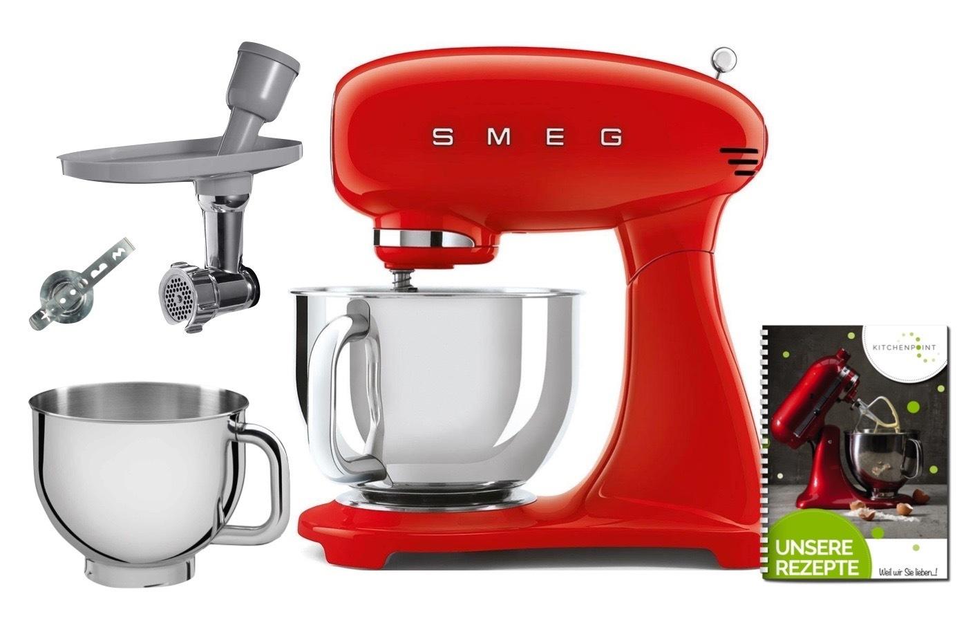 SMEG Küchenmaschine SMF03 Vollfarbe - Back Mega Set Rot