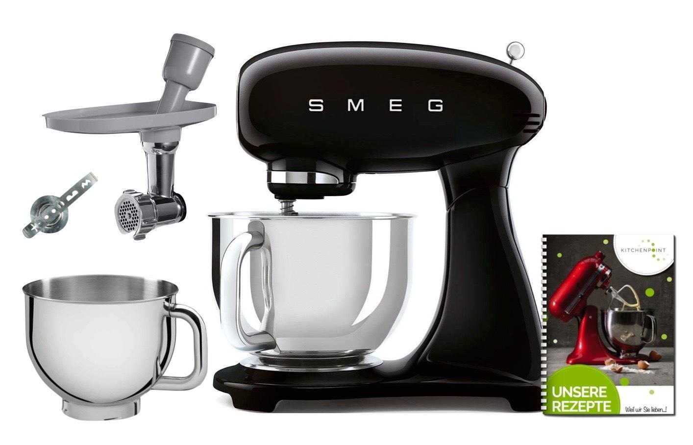 SMEG Küchenmaschine SMF03 Vollfarbe - Back Mega Set Schwarz