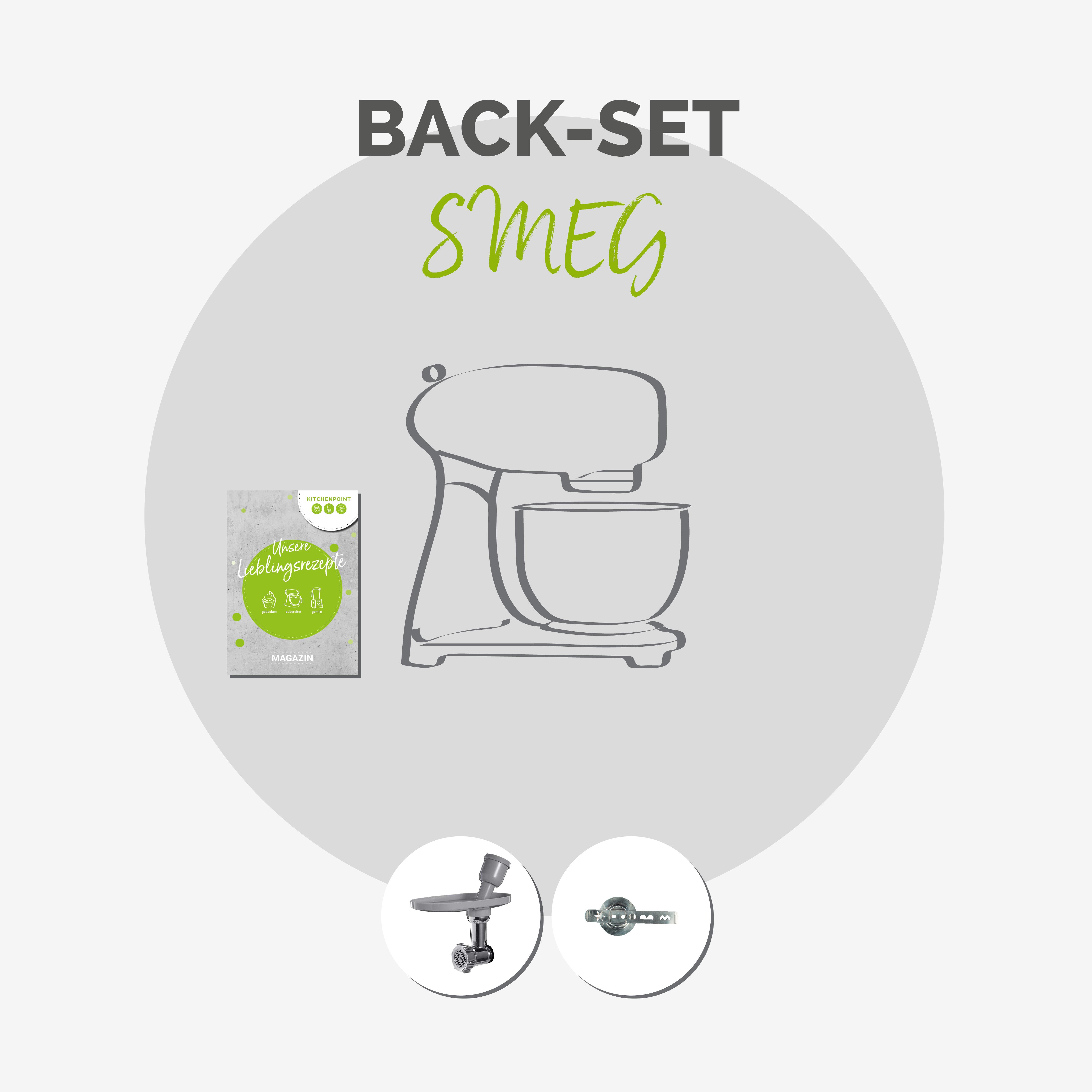 SMEG Küchenmaschine SMF03 Vollfarbe  Anthrazit-grau - Back Set