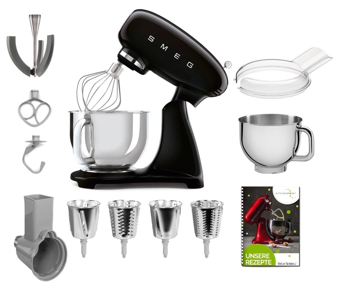 SMEG Küchenmaschine SMF03 Vollfarbe - Gemüse Mega Set Schwarz